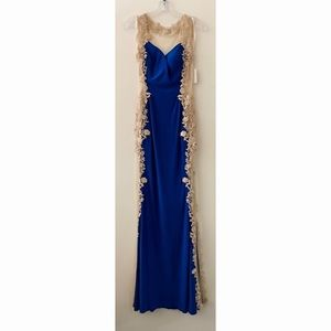 Royal Blue with Gold Lace Panel